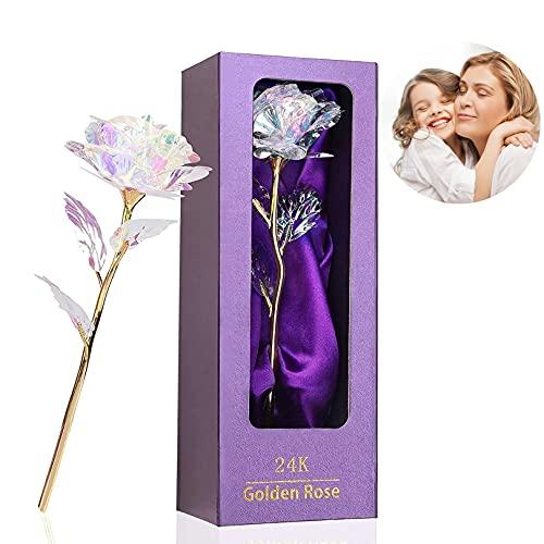 Rosa de Oro 24K,Regalo para Madres Rosa Eterna Flores Chapadas,Galaxy Rose Flores Artificiales con Caja ,Mujer,Novia,Esposa,el Día de San Valentín Aniversario Regalo de Cumpleaños, Día de la Madre