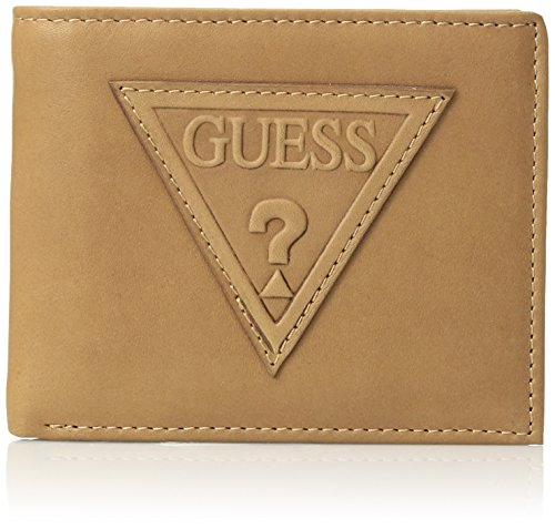 Guess Men's RFID Security Blocking Leather Fixed Passcase, tan, One Size