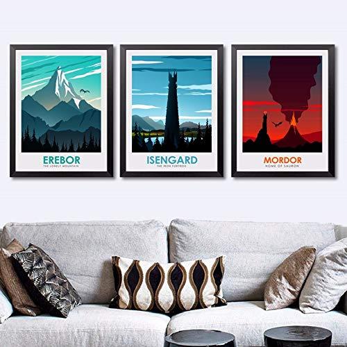 Qiumeixia1 Le Seigneur des Anneaux de Film Erebor Isengard Affiche Mur Art Peinture Décor Impressions Sur Toile Art Affiche Peinture à L'huile No Frame 50 * 70 cm