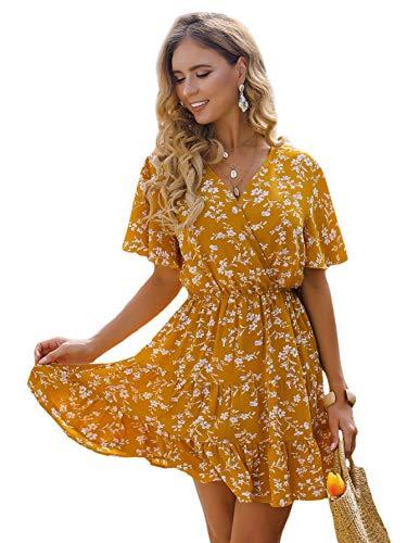 Romwe Women's Short Sleeve V Neck All Over Print High Waist A Line Summer Short Dress Mustard Yellow M