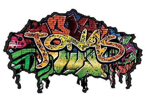 3D Wandtattoo Graffiti Wand Aufkleber Name JONAS Wanddurchbruch sticker selbstklebend Wandbild Wandsticker Jungenddeko Kinderzimmer 11U023, Wandbild Größe F:ca. 162cmx97cm