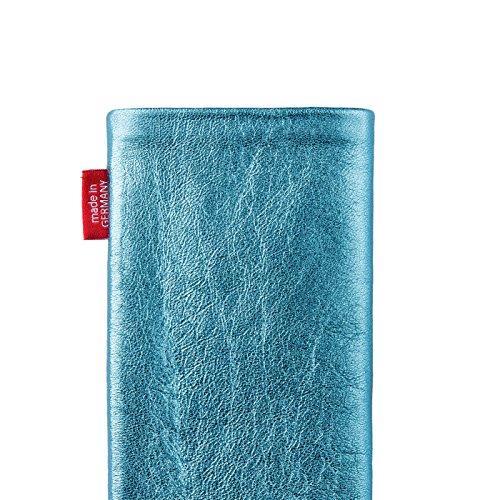 fitBAG Groove Türkis Handytasche Tasche aus feinem Folienleder Echtleder mit Microfaserinnenfutter für Huawei Ascend Mate 2   Hülle mit Reinigungsfunktion   Made in Germany - 5