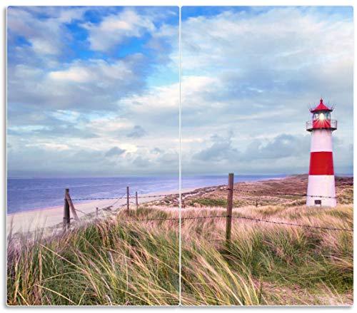 Wallario Herdabdeckplatte/Spritzschutz aus Glas, 2-teilig, 60x52cm, für Ceran- und Induktionsherde, Leuchtturm am Strand von Sylt