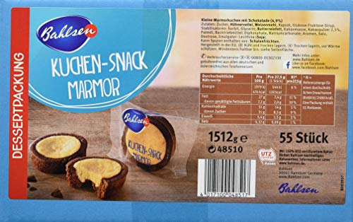 BAHLSEN Kuchen-Snack Marmor 1,51 kg - Großpackung mit ca. 55 Dessertpackungen à 27,5 g - leckere einzeln verpackte Marmorkuchen - köstlich zum Kaffee