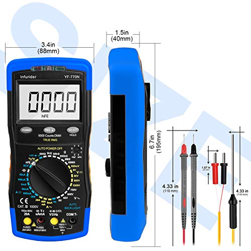 YF-770M 6000 Counts Manual and Auto Range AC//DC Voltage Amp Ohmmeter Tester Meter with Diode Continuity,Cap,Temp and Mechanical Protection INFURIDER Digital Multimeter