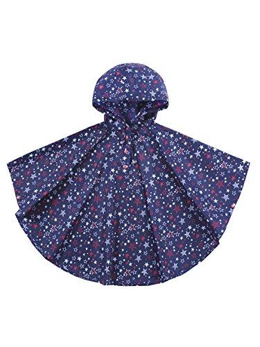 URBEAR Poncho Impermeabile da Bambini Mantella Pioggia Antipioggia Poncho con Bag 80-160cm,Blu M(100-130CM)