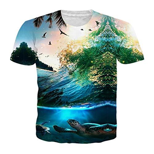 Summer Coconut Tree 3D Printed T Shirt Women Men Harajuku Nightfall Hawaiian Tee Shirt RUE Size BB10712 XXL