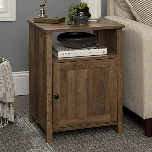 Walker Edison Furniture Company Modern Farmhouse Grooved Wood Side Accent Living Room Storage Small End Table With Cabinet Door, Reclaimed Barnwood