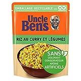 RIZ AU CURRY ET LEGUMES EXPRESS PRÊT EN 2 MIN : Ce riz cuisiné Uncle Bens au bon goût de carottes, d'épinards et d'épices indiennes est prêt en 2 minutes au micro-onde ou à la poêle. Un vrai gain de temps pour des repas sains et délicieux RIZ SAIN NU...