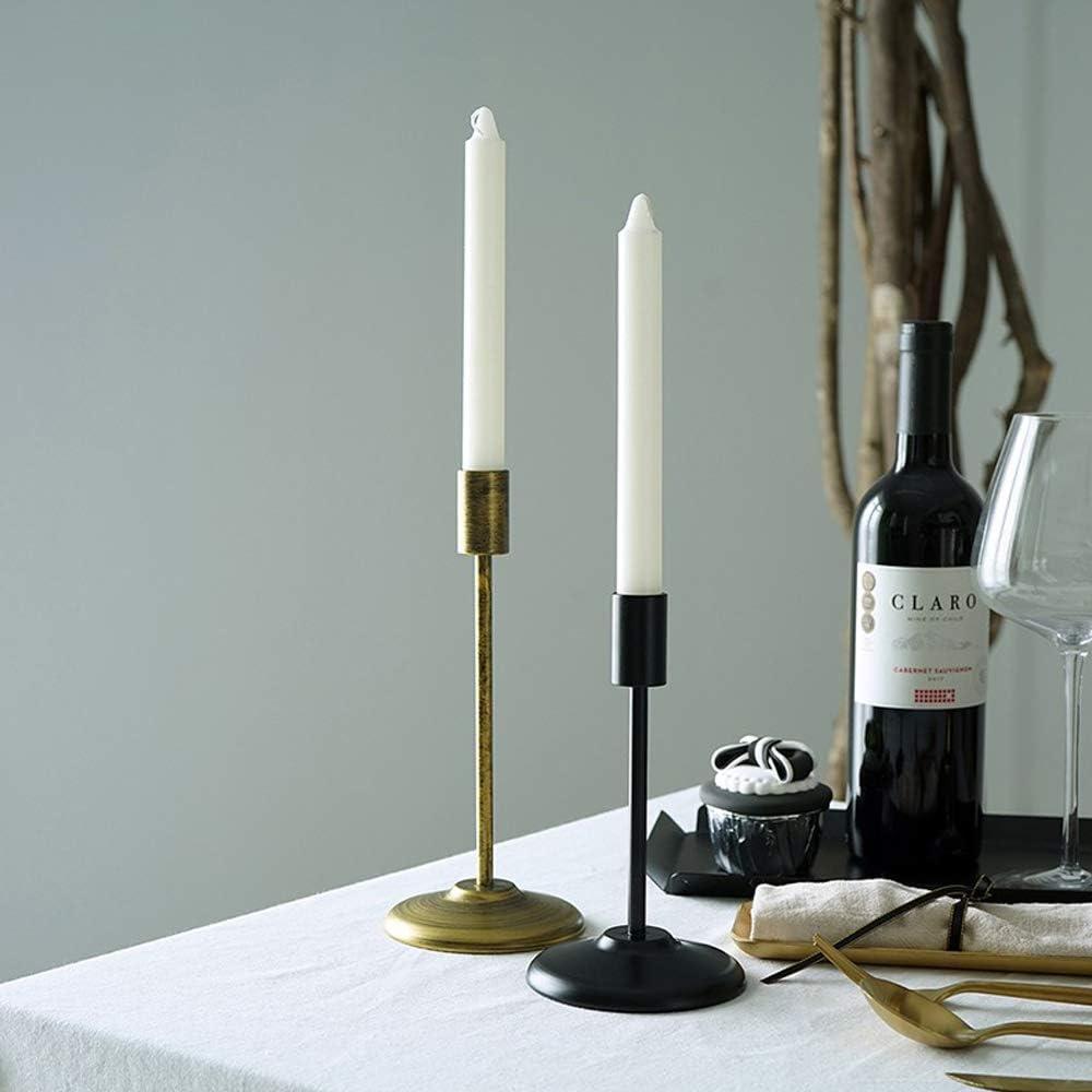 portacandele con asta 23 x 18 cm Set di 2 portacandele in diverse dimensioni 2 Pezzi Natale HarVESTFLY matrimoni Nero candelabri decorativi in metallo portacandele vintage per San Valentino