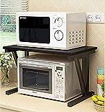 INDIAN DECOR 36600 Kitchen Rack 23.6inch Microwave Oven Stand Kitchen Cabinet and Counter Shelf Organizer Spicy Shelf Rack Toaster Organizer, MDF Black