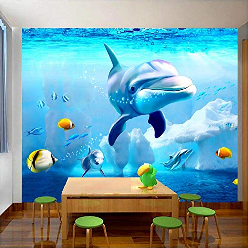 Custom 3D Fotobehang voor op de muur, onderwater, wereldschattige dolphin Children Room slaapkamer achtergrond wanddecoratie schilderij 450x300 cm