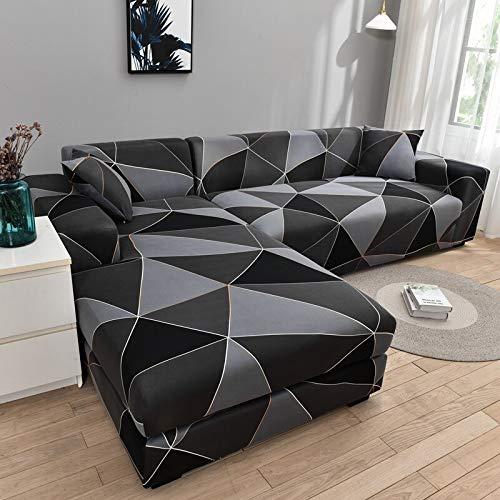 MKQB Funda de sofá con combinación de Esquina en Forma de L para Sala de Estar, Funda de protección elástica para sofá elástica, Funda Protectora para Mascotas N ° 10 M (145-185cm
