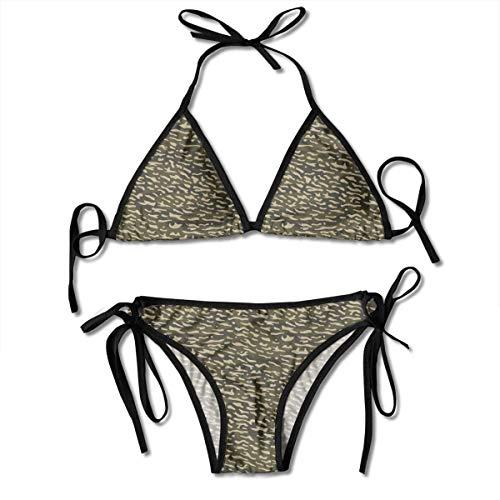 Annays Conjunto de Traje de baño Bikini para Mujer Camuflaje y Manchas Traje de baño marrón Ropa de Playa Traje de baño