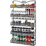 3S Wall Mounted Spice Rack Organizer for Cabinet Pantry Door Kitchen Large Hanging Spice Shelf ,5 Tier Black Door Spice Rack Hanging