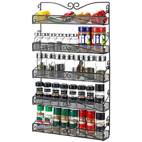 3S Wall Mounted Spice Rack Organizer for Cabinet Pantry Door Kitchen Large Hanging Spice Shelf ,5 Tier Black