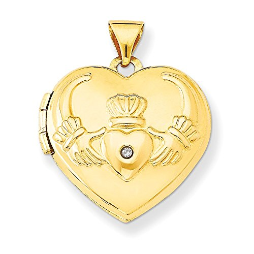 14k Yellow Gold Diamond Irish Claddagh Celtic Knot Heart Photo Pendant Charm Locket Chain Necklace That Holds Pictures Fine Jewelry For Women Gifts For Her