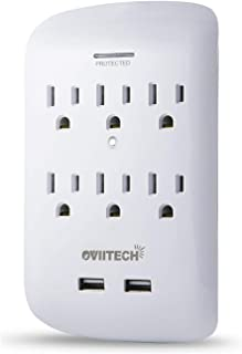 6 Outlet Surge Protector,900 Joules Wall Adapter Tap with USB Charger, Dual 3.1A USB Ports, Oviitech 3-Prong Wall Mount Outlet Plugs,ETL Listed,White
