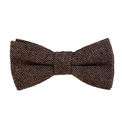 DonDon Herren Fliege 12 x 6 cm Baumwolle gebunden und längenverstellbar braun schwarz