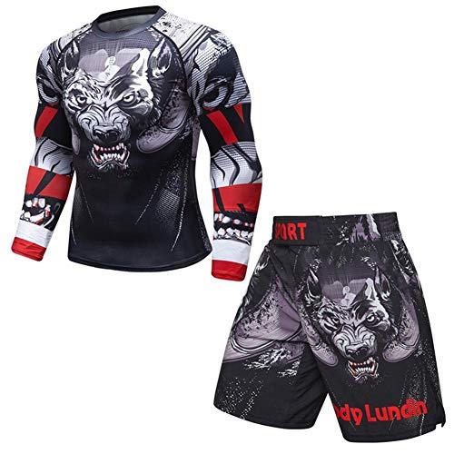 OBHDGVWN Neue UFC MMA Workout Kompresse Männer T-Shirt mit Langen Ärmeln BJJ 3D Fitness Strumpfhosen Männer Rashguard T-Shirt + Hose Herrenbekleidung @ style7_L