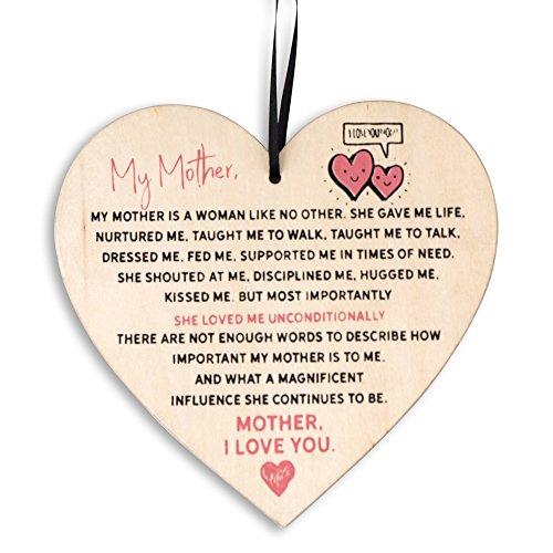 THE TWIDDLERS Placa en Forma de corazón con Palabras de Amor - Letrero Colgante de Madera - Accesorio Decorativo para mamá - Adorno Navidad - Idela para decoración de Navidad con Mensaje Grabado