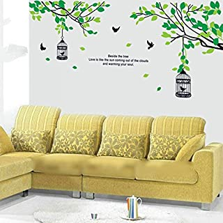 StickieArt - Green Leaves Bird Cage Wall Decal - Large - 60 x 90 cm - STA-180