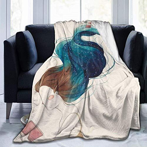 Manta de forro polar ultra suave, pintada a mano, con pelo de algas marinas y faro sobre fondo abstracto, manta cálida para decoración del hogar para sofá cama, 152 x 50 pulgadas