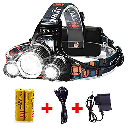 Newest Headlamp Flashlight 10000 Lumen,Best IMPROVED LED with Rechargeable Battery, Bright Head Lights,Waterproof Hard Hat Light,Fishing Head Lamp,Hunting headlamp,Running or Camping headlamp (Silver)