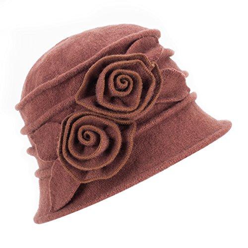 Lawliet Lawliet Eleganter Vintage-Glockenhut aus Wolle für Damen. Warme Kopfbedeckung für den Winter. Gr. Einheitsgröße, 287_Brown