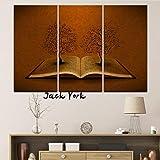 ysurehom Leinwand Malerei Blume mit Unterschrift Buch 3 Stück Modulare Tapeten Poster Wandkunst Druck Gemälde für Wohnzimmer Home Decoration