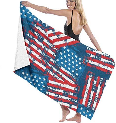 Nigel Tomm Toalla de playa, toalla de baño de secado rápido con bandera americana, toalla de 32 x 52 pulgadas, toalla de gran tamaño para exteriores y picnic Spa