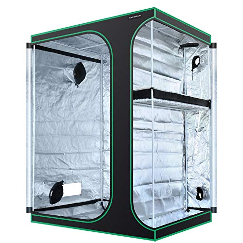MAXSISUN 2-in-1 5x4 Grow Tent 600D Mylar Hydroponic Indoor Plants Growing Tent with Observation Window and Floor Tray 60x48x80 Grow Cabinet Multi-Chamber Space from Seeding to Harvests