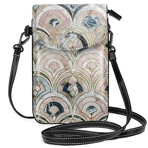 Art Deco Marmorfliesen in weichen Pastellfarben, leicht, kleine Umhängetasche, Handy-Geldbörse, Geldbörse für Frauen und Mädchen mit praktischem Tragen