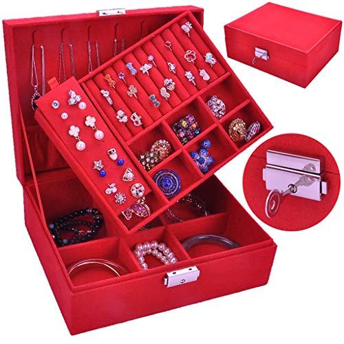 caja organizadora de joyas Joyería de la caja de gamuza multifuncional con cerradura y extraíble Estilo retro del enrejado de la joyería capacidad de super gran caja de almacenamiento organizador de v