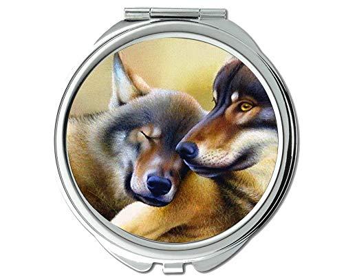 Spiegel, Reisespiegel, Taschenspiegel mit Tierwolf, 1 X 2X Vergrößerung