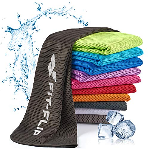 Fit-Flip Toalla de enfriamiento 120x35cm, Toalla de Deporte refrescante, Toalla fría, Airflip Cooling Towel, Toalla de Microfibra – Color: Negro, tamaño: 120x35cm