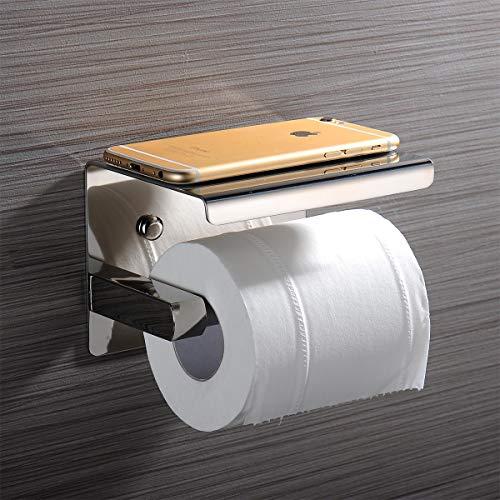Toilettenpapierhalter Ablage, ACITMEX Klorollenhalter ohne bohren Selbstklebend oder Schrauben Installation Klopapierrollenhalter WC Halter Rollenhalter Edelstahl für Badzimmer und Küche