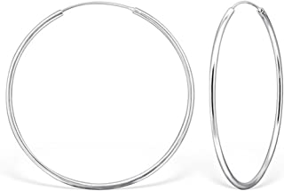 1,2mm Runde Ohrringe 8mm-80mm Ø  im Durchmesser 925er Sterling Silber Creolen