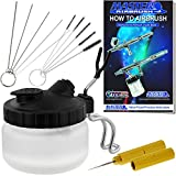 Master Airbrush 13 Piece Airbrush Cleaning Kit - Glass Cleaning Pot Jar with Holder, 5 pc Cleaning Needles, 5 pc Cleaning Brushes, 1 Wash Needle, How to Book
