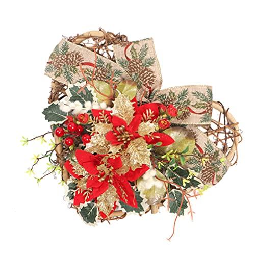 UKCOCO Guirnalda de Navidad con Luces Poinsettia Bayas Bowknot para Invierno Navidad Vacaciones Decoración Corazón en Forma de de Navidad Decoración para El Hogar