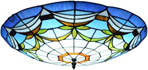 "LITFAD Tiffany Traditional Ceiling Mount Light Bowl Shade Stained Glass Mission Inverted Ceiling Lamp Flush Ceiling Light Pendant Lighting for Living Room Bedroom Hotel Cafe - Blue, 16""(40cm)"