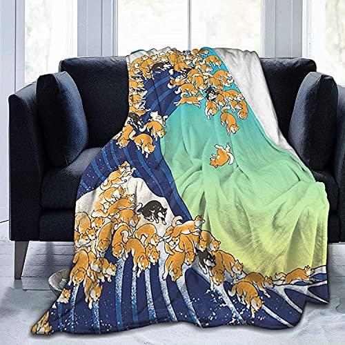 Mantas de forro polar Shiba Inu en Great Wave Mantas, acogedora y cálida manta de felpa para sofá cama, manta de forro polar tamaño King Queen para hombres y mujeres - 150 x 100
