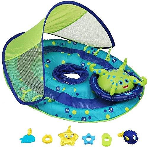 Gcxzb Schwimmreifen Bild Aufblasbarer Baby aufblasbarer schwimmring Boot reiten Baby armbit ersatzreifen bedeckte schwimmreste Schatten babyboot mit Baby Spielzeug - upf50 + Sonne - blau/grüne krake