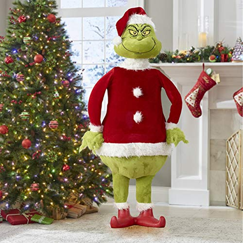 Lykmera 23.6' Grinch Standing Plush Toys Christmas Tree Decoration, Grinch Plushie in Traditional Santa Costumes Staring You, Grinch Stole Your Christmas Stuffed Toys Seasonal Home Decor