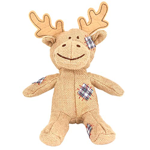 Puppy Squeaky Toys, Lovely Reindeer Toys Durable Linen Surface Dog Chew Toys, Interactive Dog Toys Funny Training Toys for Small to Medium Dogs (Brown Reindeer)