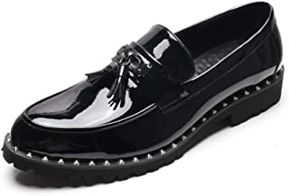 QinMei Zhou Oxfords for Men Business Loafers Patent Leather Pointed Toe Slip on Tassel Rivets Anti-Slip Elevator Shoes Low Top (Color : Black, Size : 8 UK)