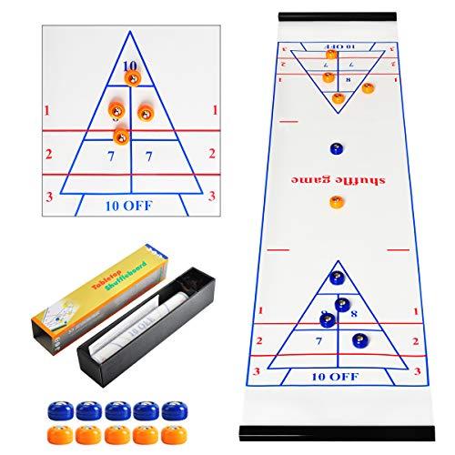 CS COSDDI Shuffleboard Table Game Shuffleboard,Shuffleboard Pucks,Curling Game mit 5 Blauen und 5 Orangen Eishockey