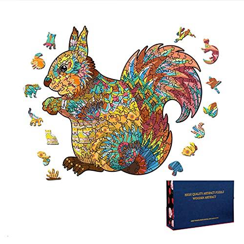 FHDD 3D Rompecabezas de Madera Adultos Niños Ardilla de Madera DIY Artesanía Educativa Animal Formado Rompecabezas,S