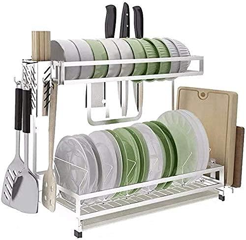 Escurridor de platos antióxido de 2 capas con soporte para utensilios y tabla de cortar, suministros de cocina, estante de organización, 48,5 x 22 x 35,8 cm