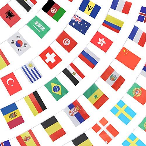 Anley 184Ft 200 Länder String Flag - Internationale Flaggenbanner für Partydekorationen, Bars, Sportvereine, Schulfestivals, Feiern - 8